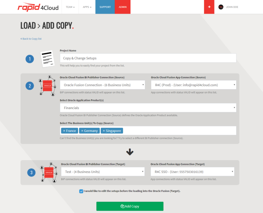 Rapid4Cloud - Copy Oracle Business Units Create New