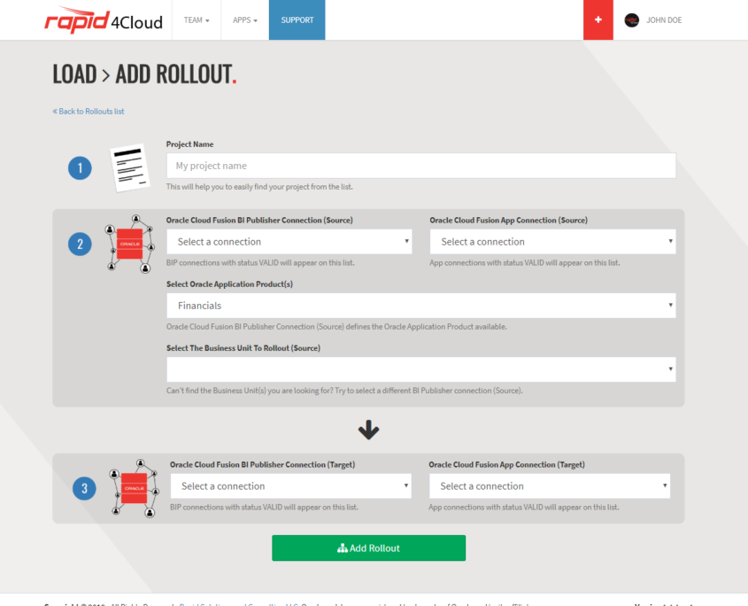 Rapid4Cloud - Oracle Rollout Create