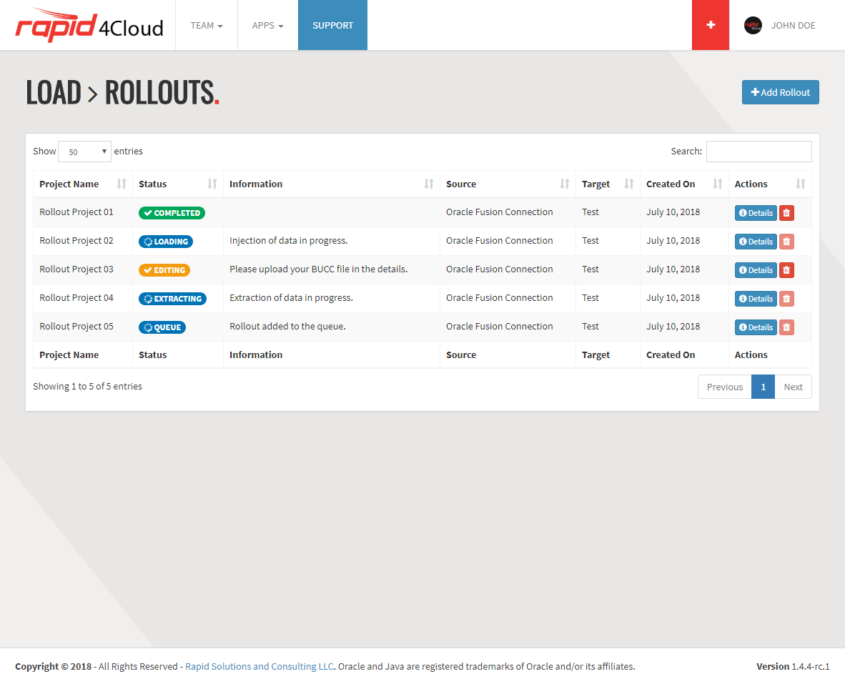 Rapid4Cloud - Oracle Rollout List Status