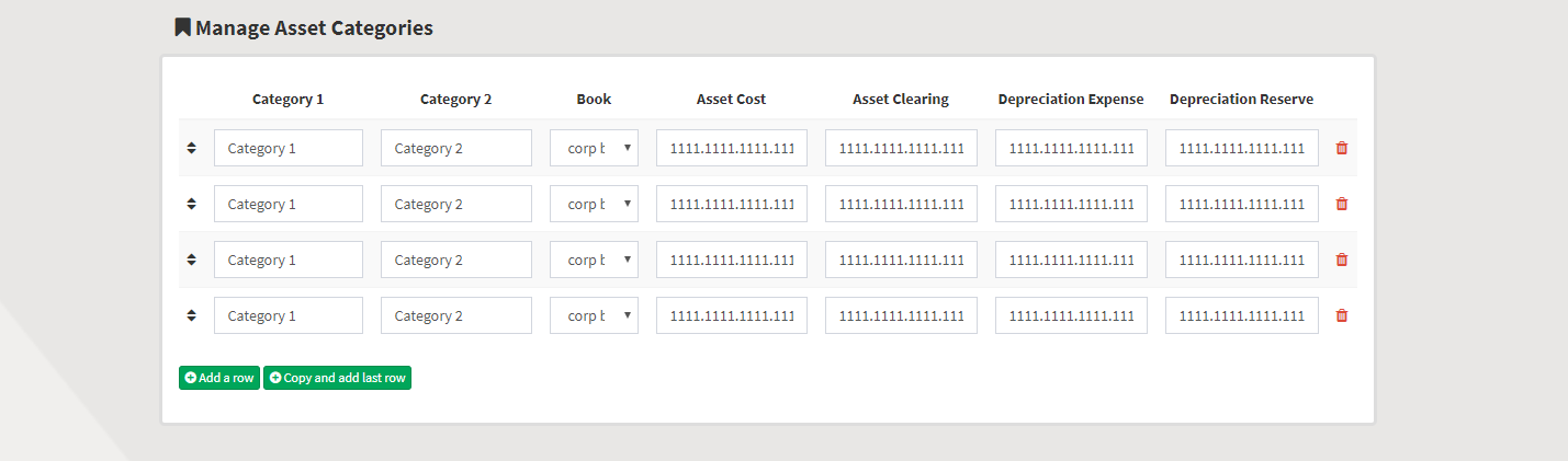 Rapid4Cloud Platform RAPIDStart Manage Asset Categories